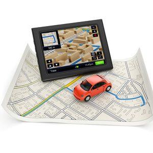 Fahrzeug, Navigation und Route auf der Karte
